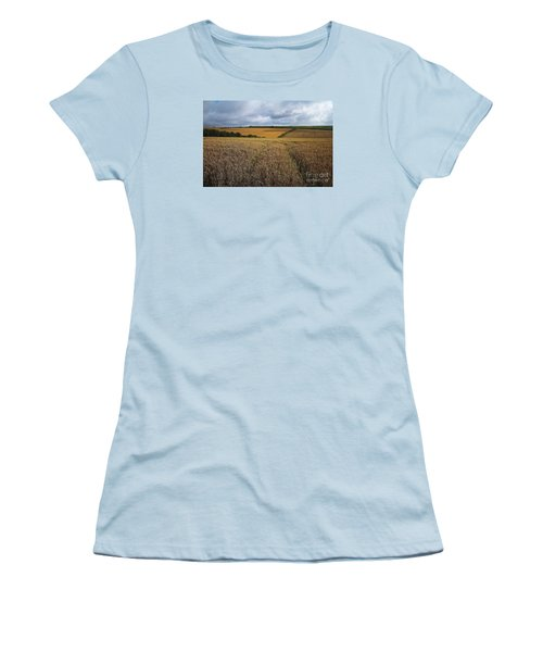 Women's T-Shirt (Junior Cut) featuring the photograph Yelow Fields And Fluffy Clouds  by Gary Bridger