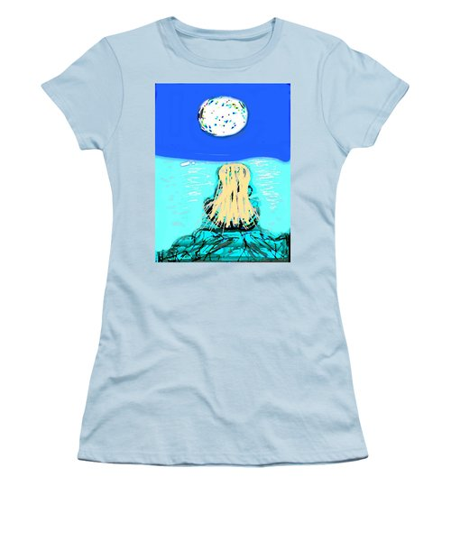 Yoga By The Sea Under The Moon Women's T-Shirt (Athletic Fit)