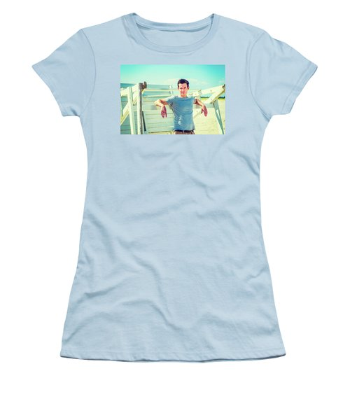 Young Man Relaxing On The Beach Women's T-Shirt (Athletic Fit)