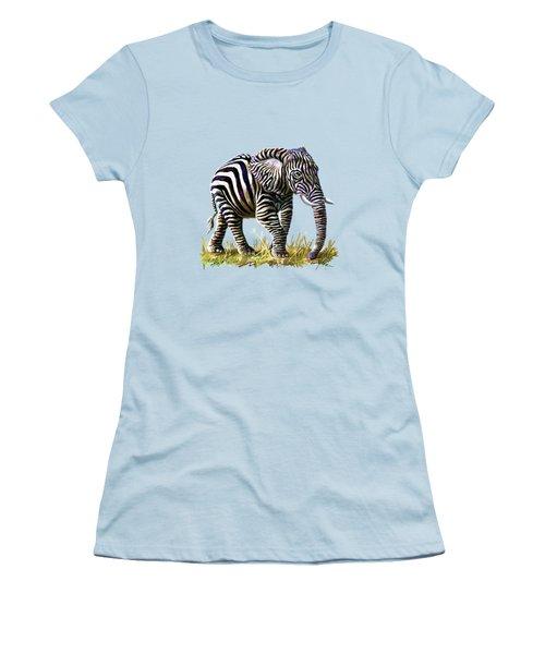 Zebraphant Women's T-Shirt (Junior Cut) by Anthony Mwangi