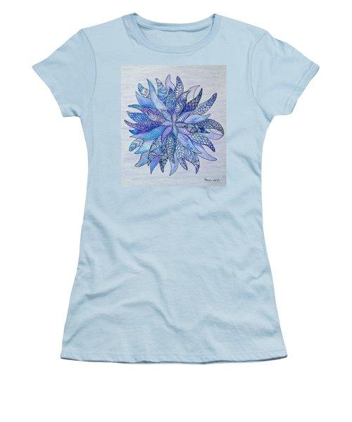 Women's T-Shirt (Junior Cut) featuring the drawing Zen Flower Mandala by Megan Walsh