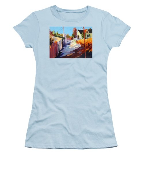 Women's T-Shirt (Junior Cut) featuring the painting Zig Zag Shadows by Rae Andrews