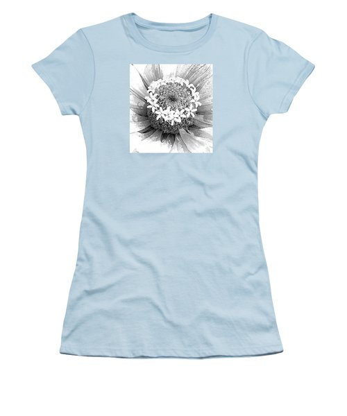 Women's T-Shirt (Junior Cut) featuring the photograph Zinnia, Black And White by Jeanette French