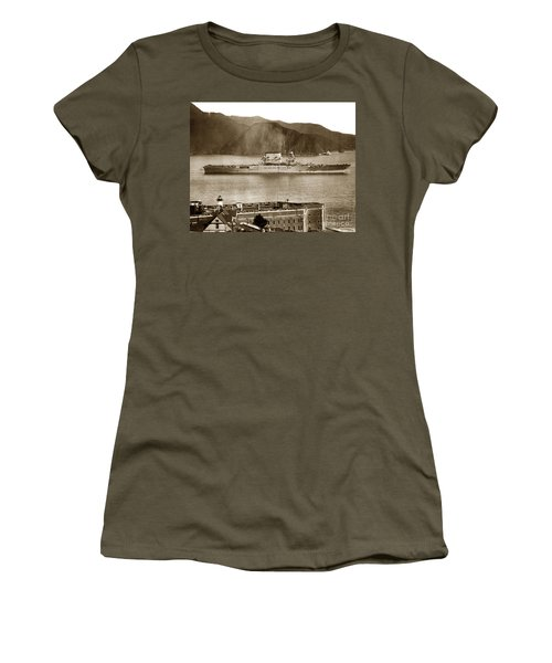 U.s.s. Lexington Cv-2 Fort Point Golden Gate San Francisco Bay California 1928 Women's T-Shirt (Junior Cut) by California Views Mr Pat Hathaway Archives