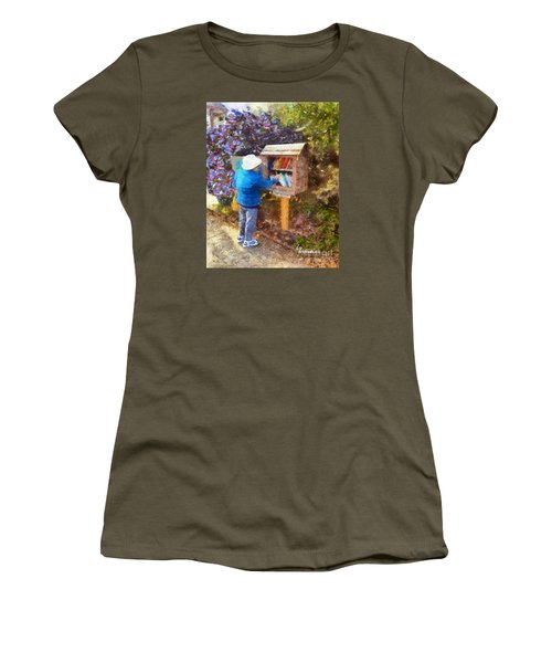 Women's T-Shirt (Junior Cut) featuring the painting  Alameda  Little Free Library by Linda Weinstock