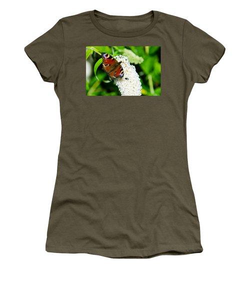 Peacock Butterfly Women's T-Shirt (Junior Cut) by Martina Fagan
