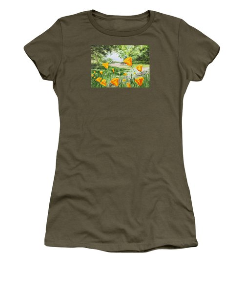 Women's T-Shirt (Athletic Fit) featuring the painting California Poppies by Irina Sztukowski