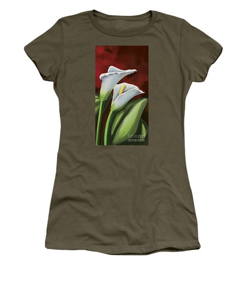Women's T-Shirt (Junior Cut) featuring the painting Calla Lilies  by Tim Gilliland