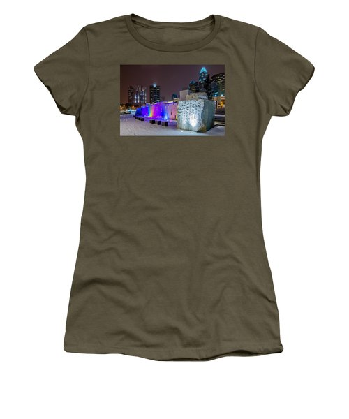 Charlotte Queen City Skyline Near Romare Bearden Park In Winter Snow Women's T-Shirt