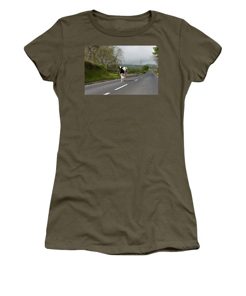 Cow Walks Along Country Road Women's T-Shirt (Athletic Fit)