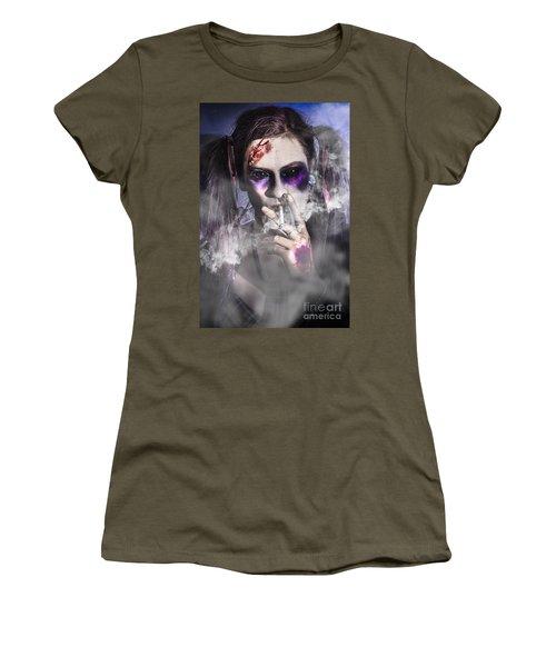 Evil Zombie Schoolgirl Smoking Cigarette Women's T-Shirt