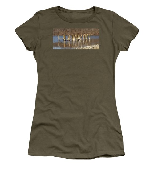 Women's T-Shirt (Junior Cut) featuring the photograph Frozen Pilings by Michael Porchik