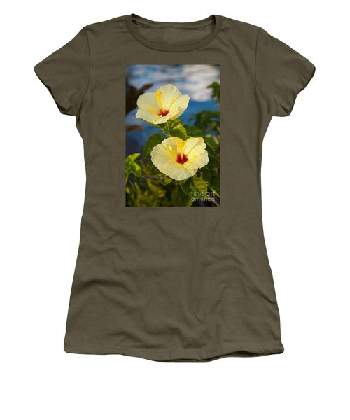 Women's T-Shirt (Junior Cut) featuring the photograph Bright Yellow Hibiscus by Roselynne Broussard