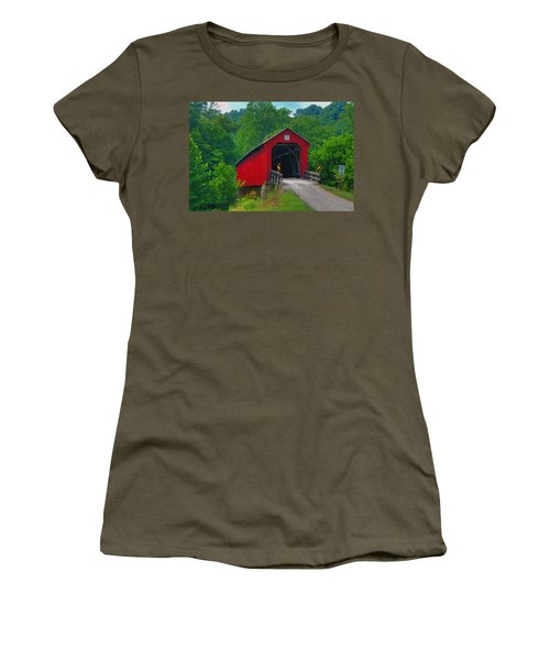 Hune Covered Bridge Women's T-Shirt (Athletic Fit)