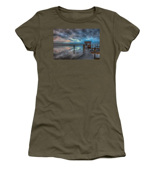 Melvin Village Marina In The Fog Women's T-Shirt
