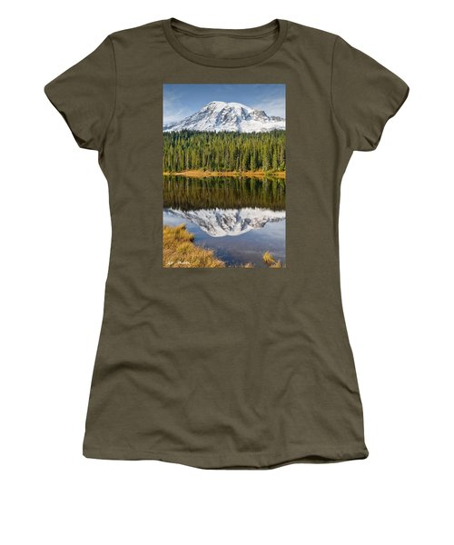 Mount Rainier And Reflection Lakes In The Fall Women's T-Shirt