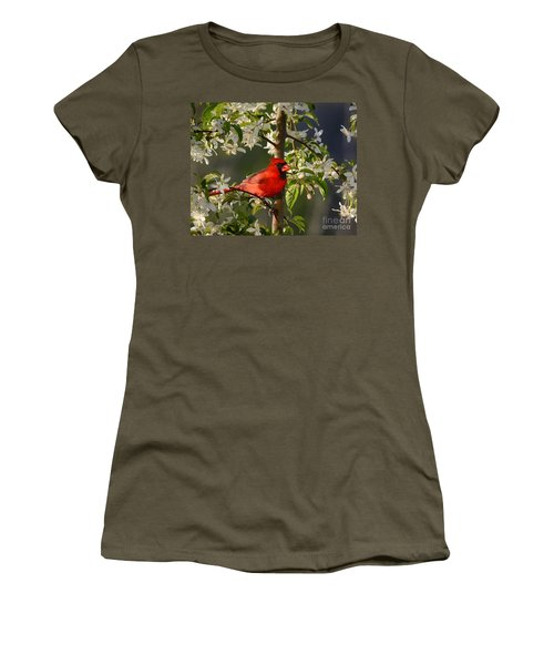 Red Cardinal In Flowers Women's T-Shirt (Athletic Fit)