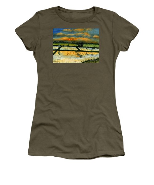 Women's T-Shirt (Junior Cut) featuring the painting On The Way To Ubud Iv Bali Indonesia by Melly Terpening