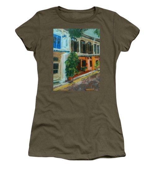 Women's T-Shirt (Junior Cut) featuring the painting Peranakan House by Belinda Low