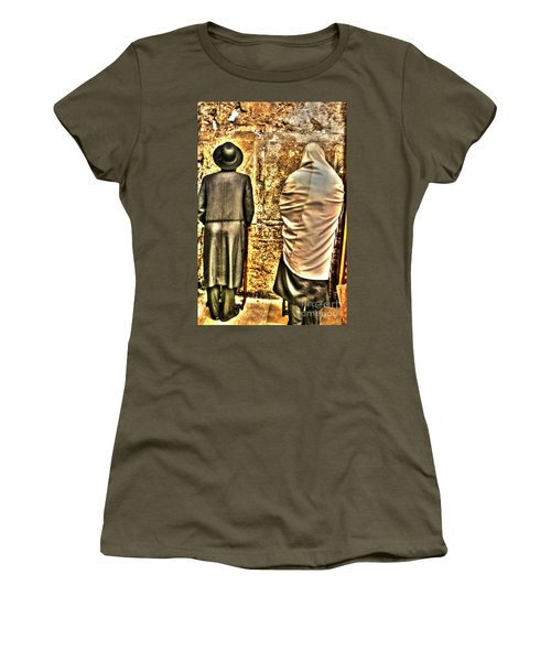 Women's T-Shirt (Junior Cut) featuring the photograph Praying At The Western Wall by Doc Braham