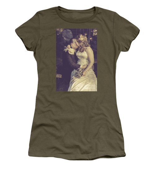 Romantic Bride And Groom Kissing Outdoors Women's T-Shirt