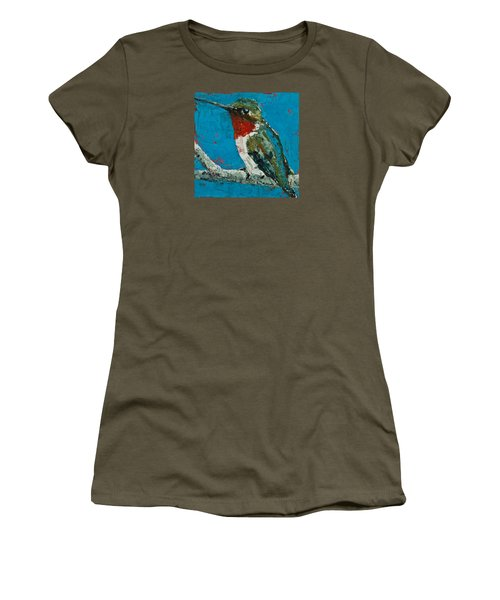 Ruby-throated Hummingbird Women's T-Shirt (Junior Cut) by Jani Freimann