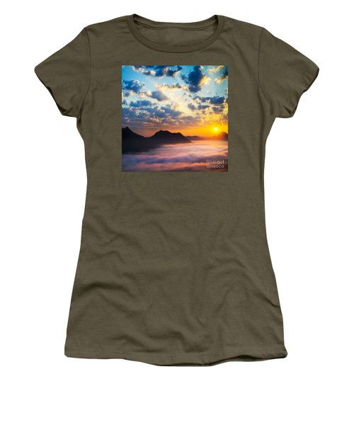 Sea Of Clouds On Sunrise With Ray Lighting Women's T-Shirt