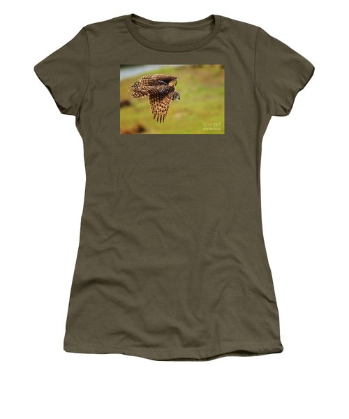 Spotted Eagle Owl In Flight Women's T-Shirt