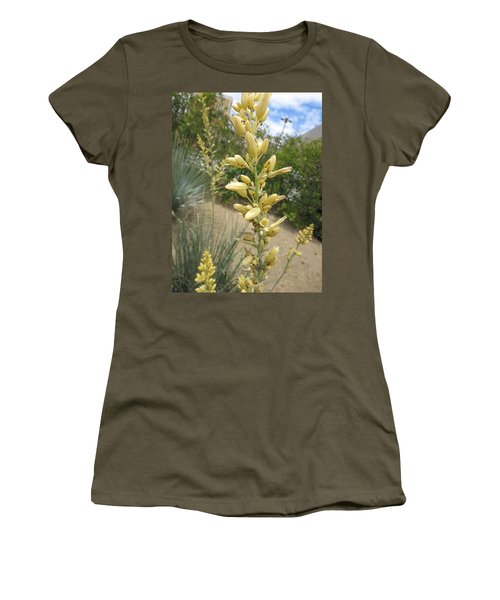 Women's T-Shirt (Junior Cut) featuring the photograph 1 String Flowers    Photographed Las Vegas May 2014 by Navin Joshi