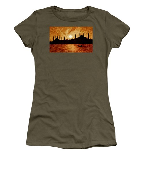 Women's T-Shirt (Athletic Fit) featuring the painting Sunset Over Istanbul Original Coffee Painting by Georgeta  Blanaru