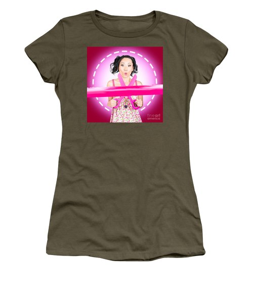 Surprised Hairdressing Woman With Beautiful Hair Women's T-Shirt