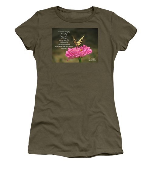 Swallowtail On A Zinnia Women's T-Shirt (Junior Cut) by Debby Pueschel