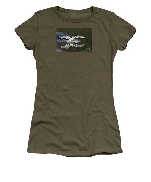 Women's T-Shirt (Junior Cut) featuring the photograph Swan Landing by Simona Ghidini