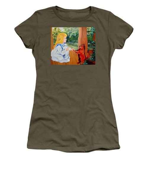 Women's T-Shirt (Junior Cut) featuring the painting The Dance Lesson by Karon Melillo DeVega