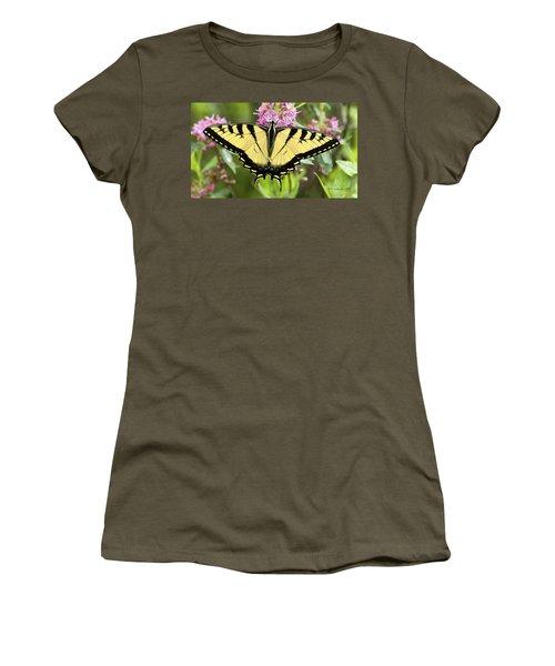 Tiger Swallowtail Butterfly On Milkweed Flowers Women's T-Shirt