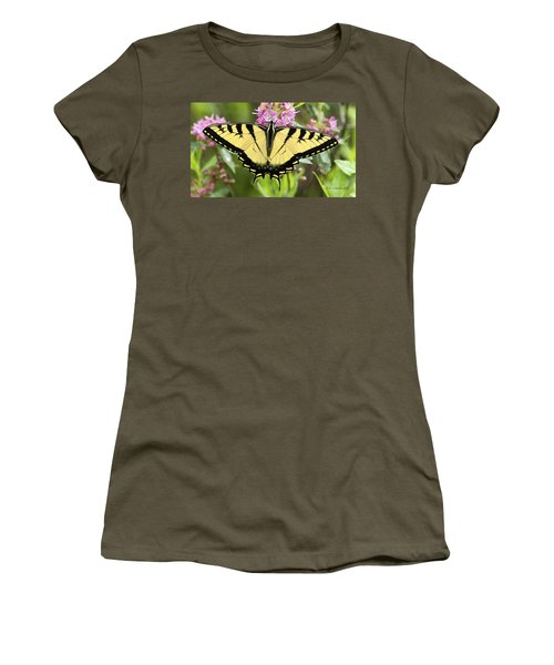 Tiger Swallowtail Butterfly On Milkweed Flowers Women's T-Shirt