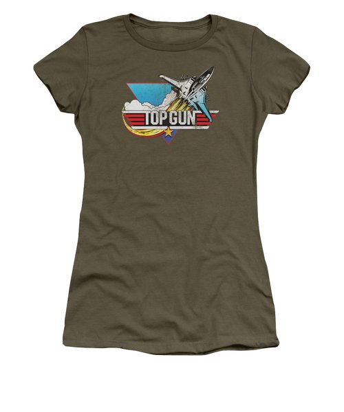 Top Gun - Distressed Logo Women's T-Shirt (Athletic Fit)