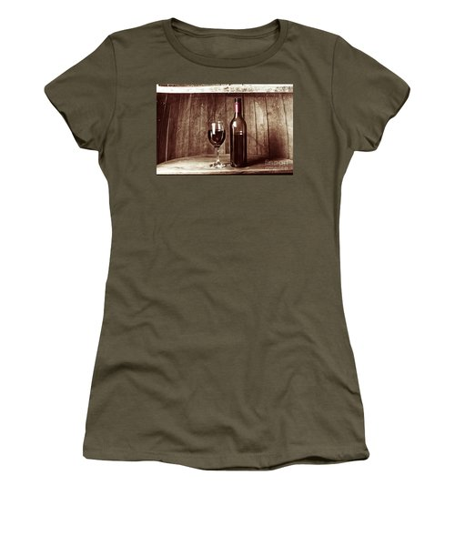 Vintage Red Wine In Old Winery Cellar Barrel  Women's T-Shirt