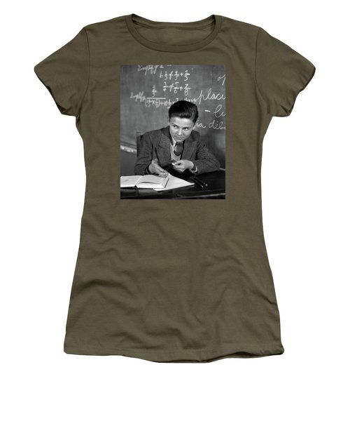 1920s 1930s Boy At Desk In Classroom Women's T-Shirt