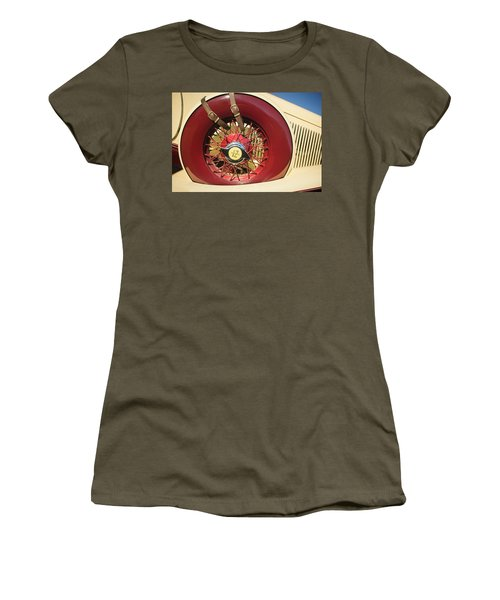 Women's T-Shirt featuring the photograph 1933 Auburn 12-161a Custom Speedster Spare Tire Emblem by Jill Reger