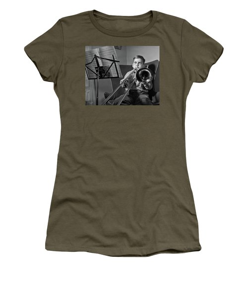 1950s Funny Cross-eyed Boy Playing Women's T-Shirt