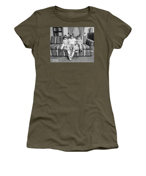 1970s Three Siblings Sitting On Couch Women's T-Shirt