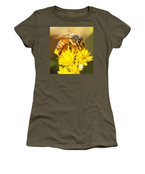 Bee On A Yellow Flower Women's T-Shirt (Junior Cut) by Marian Cates
