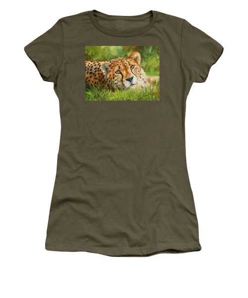 Cheetah Women's T-Shirt (Junior Cut) by David Stribbling