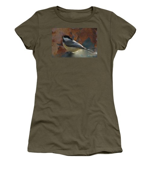 Women's T-Shirt (Junior Cut) featuring the photograph Chickadee In Autumn by Janette Boyd