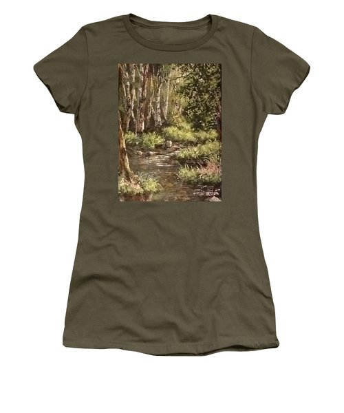 Women's T-Shirt (Junior Cut) featuring the painting Forest Stream by Megan Walsh