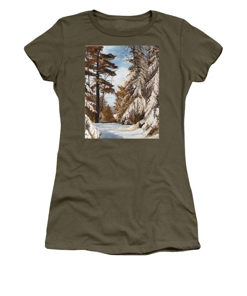 Women's T-Shirt (Junior Cut) featuring the painting Holland Lake Lodge Road - Montana by Mary Ellen Anderson