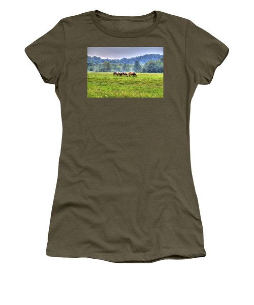 Horses In A Field Women's T-Shirt (Athletic Fit)