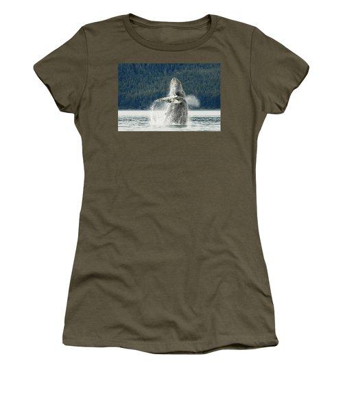 Humpback Whale Breaches Near Glacier Women's T-Shirt