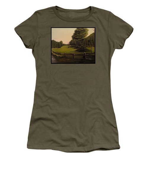 Landscape Of Duxbury Golf Course - Image Of Original Oil Painting Women's T-Shirt (Athletic Fit)